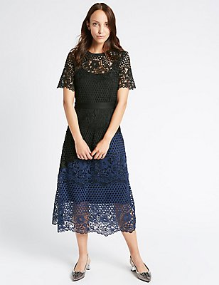 Lace Colour Block Short Sleeve Midi Dress, BLACK MIX, catlanding