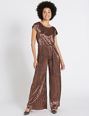 Metallic Knot Detail Short Sleeve Jumpsuit, BRONZE, catlanding
