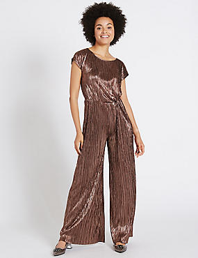 Metallic Short Sleeve Jumpsuit, BRONZE, catlanding