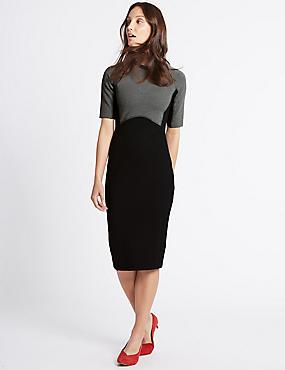 Colour Block Bodycon Midi Dress, BLACK MIX, catlanding