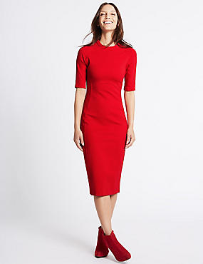 Panelling Detail Bodycon Midi Dress, RED, catlanding