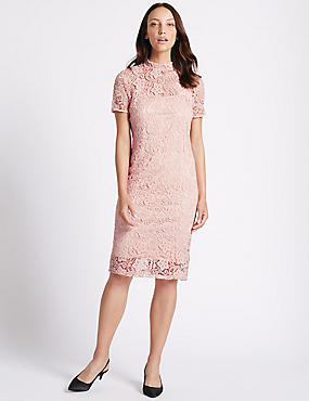 Floral Lace Short Sleeve Bodycon Dress, BLUSH, catlanding