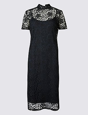 Floral Lace Short Sleeve Bodycon Dress, NAVY, catlanding
