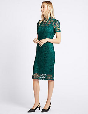 Floral Lace Short Sleeve Bodycon Dress, TEAL, catlanding