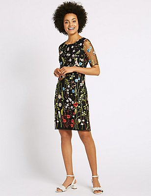 Embroidered Mesh Sleeve Shift Dress, BLACK, catlanding