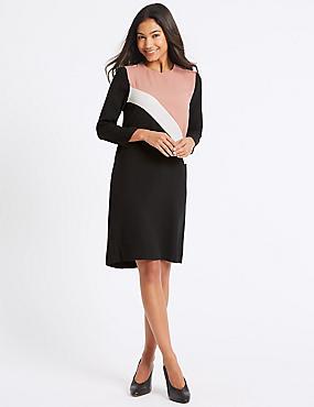 Colour Block 3/4 Sleeve Tunic Dress, PINK MIX, catlanding