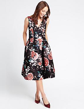 Floral Print Prom Skater Dress, BLACK MIX, catlanding