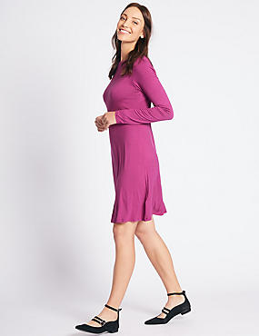 Long Sleeve Swing Dress, PINK, catlanding