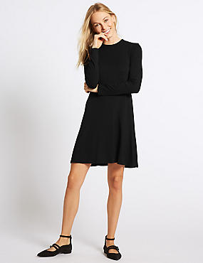 Long Sleeve Swing Dress, BLACK, catlanding