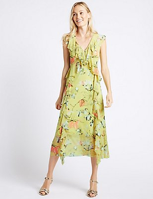 Floral Print Mesh Swing Midi Dress, , catlanding