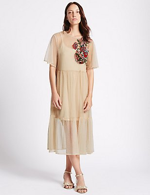 Embellished Spot Half Sleeve Tunic Dress, BLUSH, catlanding