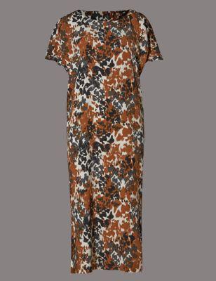 Платье-туника из крепа с леопардовым принтом