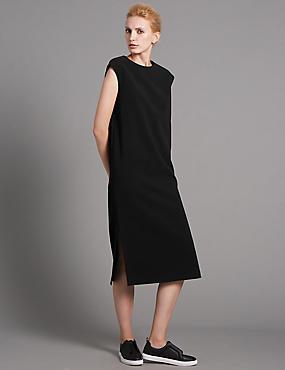 Rechte jurk met losse pasvorm, BLACK, catlanding