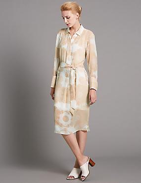 Tailored Fit Paisley Print Shirt Dress, PINK MIX, catlanding