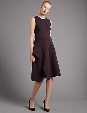 Sleeveless Fit & Flare Dress, RAISIN, catlanding