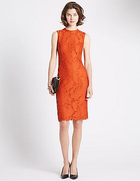 Tailored Fit Copper Lace Dress, DARK ORANGE, catlanding