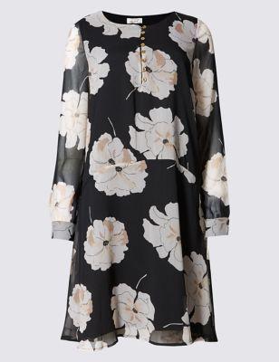 Прямое струящееся платье в крупный белый цветок Per Una T426975J