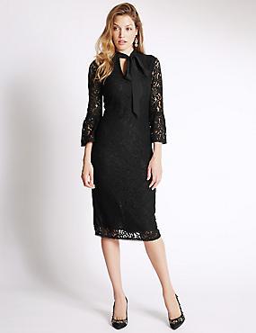 3/4 Sleeve Notch Neck Lace Shift Dress, BLACK, catlanding