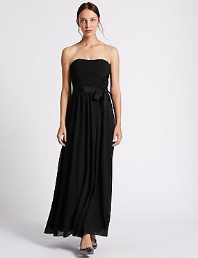 Detachable Straps Pleated Maxi Dress, BLACK, catlanding