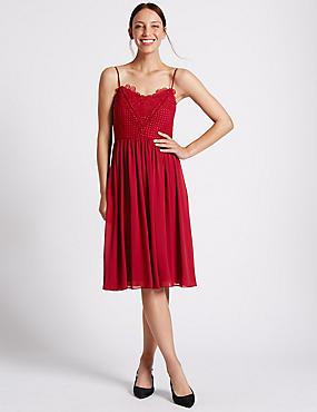 Floral Lace Gathered Hem Slip Midi Dress, RED, catlanding