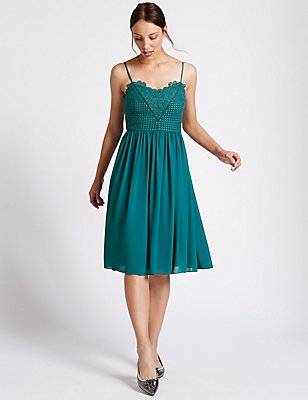 Floral Lace Gathered Hem Slip Midi Dress, TEAL, catlanding