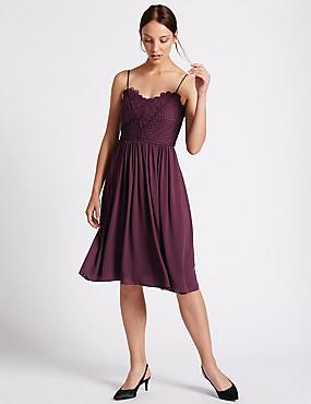 Floral Lace Gathered Hem Slip Midi Dress, BLACKCURRANT, catlanding