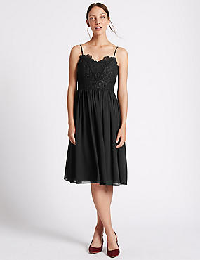 Floral Lace Gathered Hem Slip Midi Dress, BLACK, catlanding