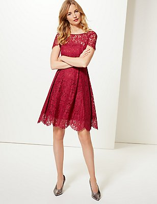 Cotton Blend Lace Swing Dress, RED, catlanding