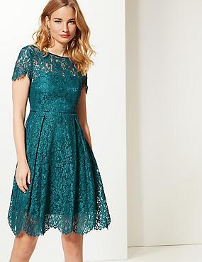 Cotton Blend Lace Swing Dress, TEAL, catlanding