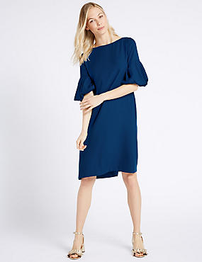 Puff Half Sleeve Tunic Dress, COBALT, catlanding