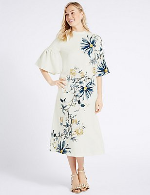 Floral Print Flared Sleeve Tunic Midi Dress, IVORY MIX, catlanding