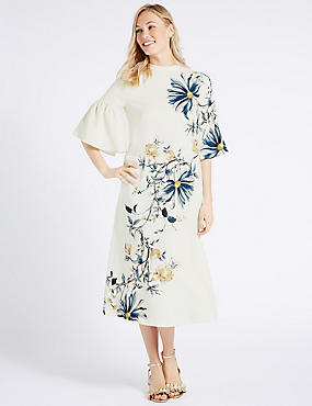 Floral Print Flared Sleeve Tunic Dress, IVORY MIX, catlanding