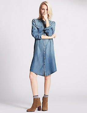 Tencel® Long Sleeve Shirt Dress, DENIM MIX, catlanding