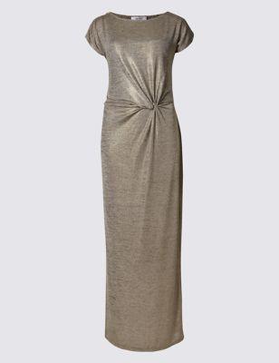 Платье-макси с блеском и драпировкой Per Una T427056