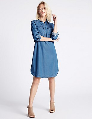 Denim Tencel 2 Pocket Shirt Dress, BLUE, catlanding