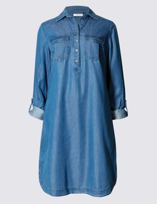 Джинсовое платье-рубашка Tencel® с двумя карманами Indigo Collection T427058