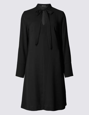 Платье-туника с галстуком-бантом