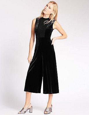 Velvet Culotte Sleeveless Jumpsuit, BLACK, catlanding