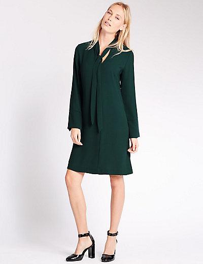 Bow Tie Long Sleeve Tunic Dress | M&S