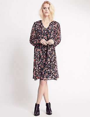 Floral Print Long Sleeve Shift Dress, , catlanding