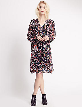 Floral Print Long Sleeve Shift Dress, CHARCOAL MIX, catlanding