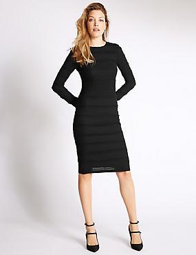 Fit & Flare Cotton Blend Ruffle Dress, BLACK, catlanding