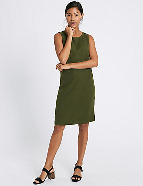 Linen Blend Pocket Round Neck Tunic Dress, FOREST GREEN, catlanding
