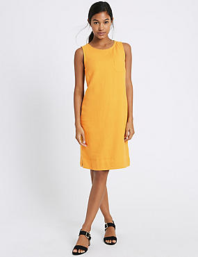 Linen Blend Pocket Round Neck Tunic Dress, OCHRE, catlanding