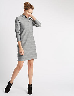 Ripple Long Sleeve Shift Dress, GREY, catlanding