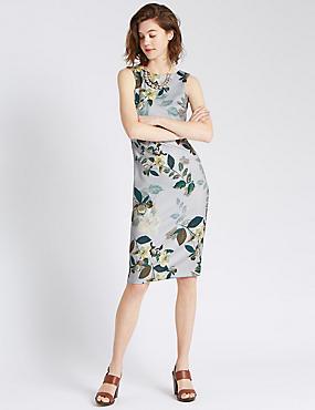 Bodycon-jurk in scubastijl met bloemmotief en slanke pasvorm, GRIJS MIX, catlanding