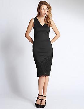 V Neck Lace Bodycon Dress, BLACK MIX, catlanding