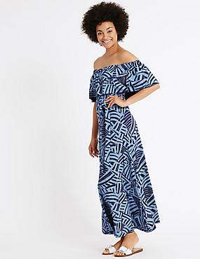 Printed Flared Tie Front Bardot Maxi Dress, BLUE MIX, catlanding