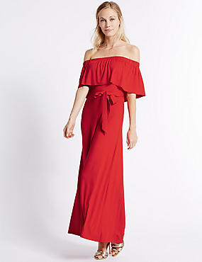 Bardot Half Sleeve Maxi Dress, RED, catlanding