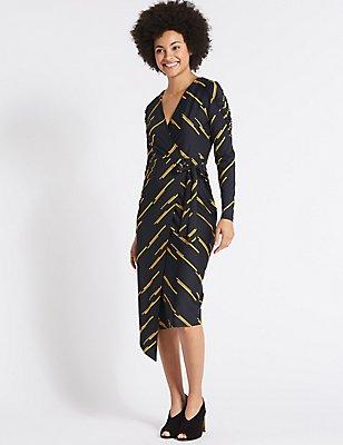 Printed Tie Side Wrap Midi Dress, NAVY MIX, catlanding